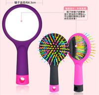 Wholesale Rainbow Volume Tangle Detangling Hair Brush Multi Color Magic Detangler Hair Styling Tool Hair Brush Comb With Mirror free DHL