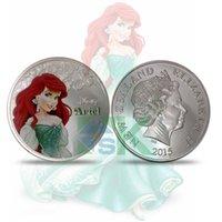 ariel ornament - Cartoon The Little Mermaid princess Ariel Elizabeth metal craft silver replica Coin metal crafts coin
