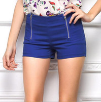 Wholesale 2015 Double Zipper Slim Sexy Summer Shorts Feminino Candy Color Woman Short Female Harem Hot Pants for Women Black