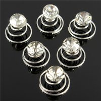 Wholesale 6pcs New Wedding Bridal Crystal Swirl Twist Hair Spin Pins Women Fashion Hair Jewelry Party Accessories