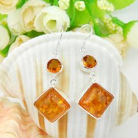 amber shine - 2015 Special Offer Sale Jaquetas Femininas pairs Lucky Shine Newest Square Amber Sterling Silver Drop Earrings