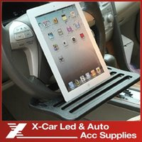 Wholesale Hot sale Car iPad Support Stand Dining table Clip Steering wheel Tray Drink Holder desk table for car steering freeshipping