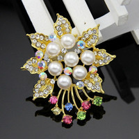 anchor party supplies - South Korean version of the high grade gold alloy brooch bouquet of colorful flower corsage brooch pin holding supply