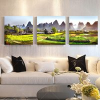 Cheap 3 Panel Modern Printed Mountains Landscape Painting Picture Cuadros Decor Scenery Canvas Wall Art For Living Room No Frame PR231