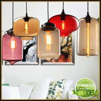 lamp shade - Modern Glass Pendant Light Lamps Lighting Fixtures AC110V V Glass Shade Spray Painting For Ceiling Lights Lamp Glass With Edison Bulb
