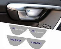 Wholesale 4pcs set Volvo Rdesign Car Door Handrail Stainless Steel Door Bowl Sill Plate Interior Trim Sticker S60 S60L V60 XC60 Accessory