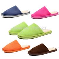Wholesale 2014 HOT Sale Men Women Coral Velvet Soft Warm Indoor Slippers Cotton Home House Nonslip Shoes