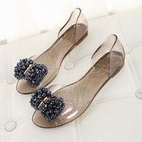 Wholesale Melissa Crystal jelly shoes beaded rhinestone bow metal decorative flat sandals open toed shoes PVC shoes A037