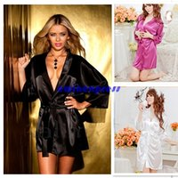 Wholesale Sexy Sleepwear Silk Lace Bathrobe Wrap Housecoat Dress Gown Lingerie New Good Quality Freeship Hot sale