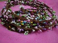 Wholesale Girls Flower Crown Hair Accessories Fairytale Wedding Rattan Garland Romantic Hawaii Colorful Round Tiaras Wedding Bridal A4683