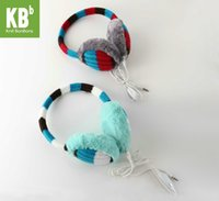Cheap Wholesale-A#[Heartful Twist] KBB 2 Colors Fashion Fall Autumn Winter Striped Fluffy Hands Free Music MP3 Speaker Earmuffs For Smartphones