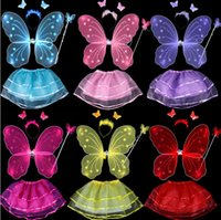 Wholesale sets Butterfly Fairy Wings set with tutu wing headband wand tutu for kids children colors mix