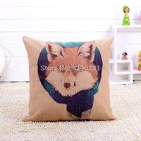 Wholesale NEW Creative Watercolour Wolf Linen Pillow Cushion Cover Wolf Head Pillowcases Home Decoration sofa cushions cm