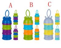 3 celdas portátiles infantiles de bebé de alimentación de dosificación de la caja de leche en polvo recipiente de la botella de la caja de la rejilla 3 colores