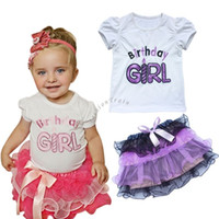 Wholesale Baby Clothes st First Birthday Baby Girl Outfit Top Tutu Skirt Princess Flower Party Dress Kids Clothing