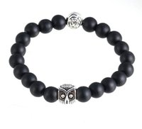 Wholesale Natural Gemstone Lava Black Line Stone Owl Rose Beaded Bangles Elastic Streched Men Women Bracelets Large Stock