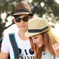 Wholesale Fashion Cool Unisex Summer Beach Trilby Fedora Straw Panama Wide Brim Beach Cap Sun Hat