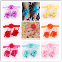 barefoot suits - 2015 new cm baby foot flower hair band suits P foot flower P hair band net yarn flowers foot straps baby Barefoot Sandals color
