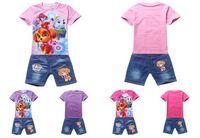 Wholesale Hot Dog Paw Girls Short Sets Newly Dog Patrol Short Tshirt Top Denim Pants Clothing Set Girls Summer Outfits Set Kids Clothes