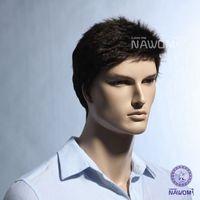 Wholesale 11 inch Male Glamorous Charming Fashion Black Wave Kanekalon Fiber Synthetic Men Wig Hair H9101Z