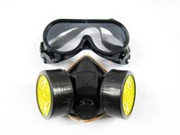 Wholesale Cheap Double Gas Mask protection filter Chemical Gas Respirator Face Mask with Glasses