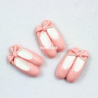craft shoes - Pink Ballet Shoes Resin Cabochons Flatbacks for Girl Hair Bow Center Crafts DIY