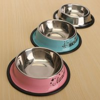 Wholesale Stainless Steel Pet Dog Cats Puppy Travel Feeding Feeder Food Bowls Non slip Water Dish