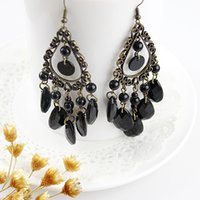 Dangle & Chandelier bead gemstone earring - Vintage jewelry antique gold color alloy black imitation gemstone bead tassel dangle earrings