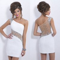Wholesale 2015 White Beaded Prom Dresses Cheap Short Cocktail Dresses Crystal One Shoulder Evening Gowns A Line Elastic Satin Top New Amazing