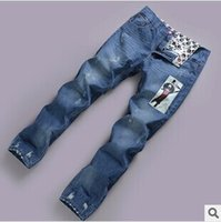 Wholesale 2014 Men s jeans trend straight men s jeans men burst models Slim hole printing cowboy tide summer