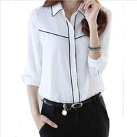 Wholesale 2016 Women White Blusas Chiffon Blouse OL style office Lady shirts Plus size S XXL CSW858