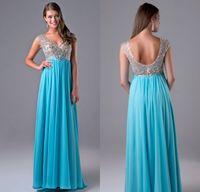beautiful waists - Nina Canacci Prom Dresses Beautiful Light Sky Blue High Waist V Neck Sleeveless Floor Length Beading Crystal Evening Party Dresses