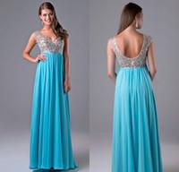 beautiful chiffon dresses - Nina Canacci Prom Dresses Beautiful Light Sky Blue High Waist V Neck Sleeveless Floor Length Beading Crystal Evening Party Dresses