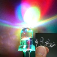 Wholesale 100pcs RGB Full Color Rainbow Ultra Bright LED Fast Flashing Blink Round LED light MM LED Lamp Emitting Diodes