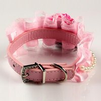 big dog bling - Big Bow Bling Pets Pu Collars Luxury Dog Collar Lace Flower Pets Party Dog Lead Collar