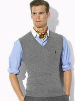 men knitted sweaters - HOT SALE new autumn and winter fashion sweater vest men s V neck sweater vest sleeveless vest men warm Black red blue gray dark gray