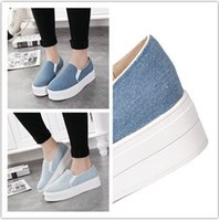 lady leisure shoes - 2015 Spring Denim Fabric Surface Platform Shoes Pantshoes Flat Heel Lady Women Round Toe Flats Shoes Dress Work Leisure Shoes BlueK3327