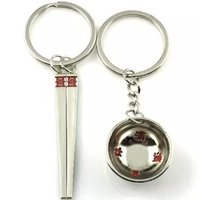 Wholesale Zinc alloy bowl and chopstick KEYRING KEYCHAIN Key accessory Super cool highlight fashion Key rings Key chains Featured novel key ring