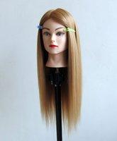 hair mannequin head - free shiping high temperature synthetic fiber Mannequin Head blonde hair dummy head hair training head golden hair