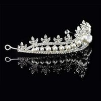 Wholesale 12pcs Charming Rhinestone Crystal Headbands Pearls Crown Style Tiara Ladies Party Banquet Wedding Hair Accessories jt301