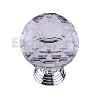 Cheap Clear Round Crystal Glass Cabinet Drawer Door Pull Knobs Handles 40mm