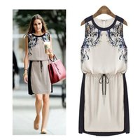 Wholesale 2015 Spring HOT special dress fashion women s printed slim charge waist dress round neck sleeveless middle dress