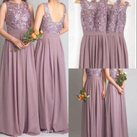 Wholesale Cheap Lace Bridesmaid Dresses Long Dusty Mauve Chiffon Backless Formal Junior Wedding Guest Gowns Modest Floor Length Applique Prom Party