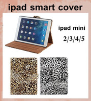 Wholesale Magnetic Smart Case Cover Leopard Print PU Leather Case for Apple iPad Mini ipad air with Stand sleep wake function dhl free PCC037