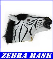 Wholesale Hot selling Creepy zebra Mask Head Halloween Christmas Costume Theater Prop Novelty Latex Rubber new arrive superb dorp shipping