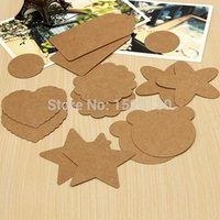 Wholesale 50pcs Wedding Brown Kraft Paper Tags Bonbonniere Favour Gift Tags Cards With Twines