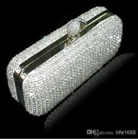 Wholesale Vintage New Style Wedding Bridal Party Ladies Silver Handbags Crystal Rhinestone Designer Ring Swarovski Shoulder Wallet Purse Makeup Kit