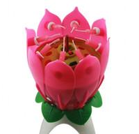 Wholesale 100pcs New Lotus Music Candles Lotus Petal Wedding Birthday party Flower Music Candle Lotus style