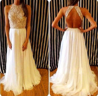 beaded tops for evening wear - Pretty White High Neck Prom Gowns Heavy Beaded Top Open Back Floor Length Long Dresses Evening Wear For Women Formal Party Occasion