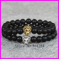 Wholesale Nature mm Black Semi precious Agate Onyx Stone Beads Bracelet Gold amp Silver Lion Head Charm Bracelet Yoga Mala